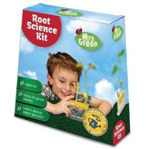Shows a child on the cover of the box looking at the roots of a plant growing.