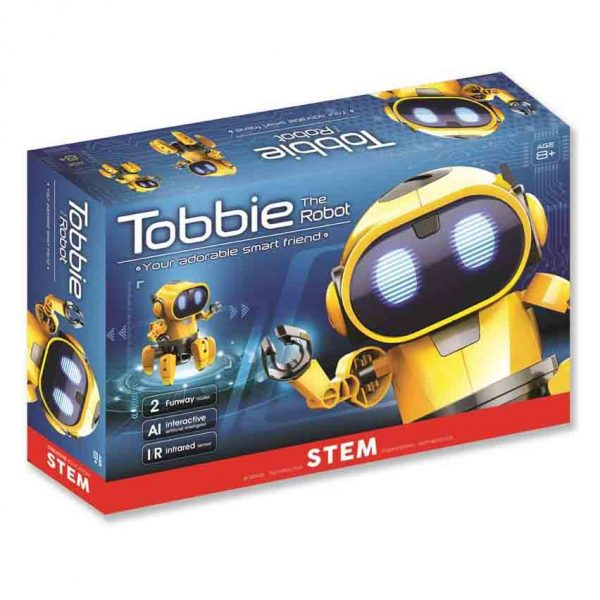 Tobie the robot in the box . A yellow robot is waving on the cover