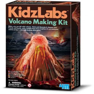 Volcano making kit by Kidzlabs showing a volcano erupting on the box