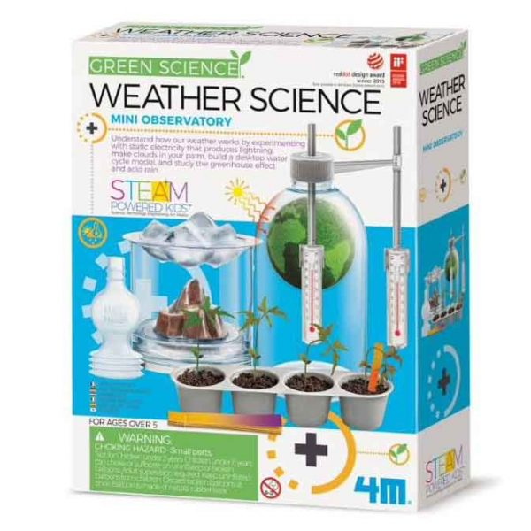 Weather science kit showing a terraium with thermometers attached as well as a cloud in a jar experiment on the cover