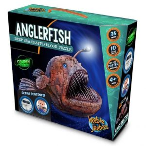 nglerfish floor puzzle box, showing an anglerfish with it's mouth open and it's lure lit up above it's head