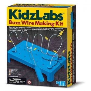 buzz wire making kit box showing the game on the front cover. The buzz wire making kit features a blue base with a wobbly wire conencted to a buzzer. A metal loop is hanging on the wobbly wire.
