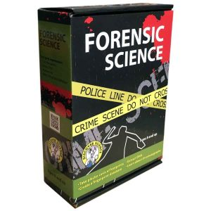 forensics science kit box showing crime scene tape and body outlines