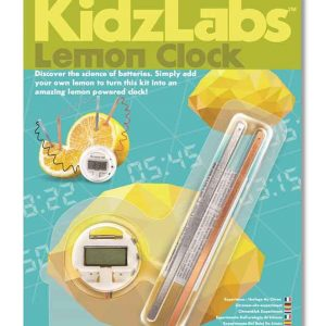 A lemon clock inside the packaging. There is a picture of a lemon connected to the LCD watch