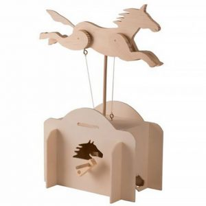 A wooden horse in a pose of a full gallop. It's legs are attached to strings and there is a wooden stand holding it up over a box. A handle at the box which is making the horse move