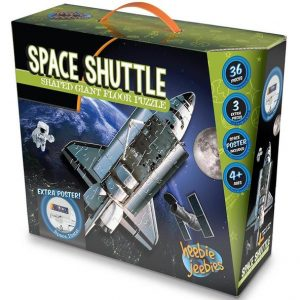Space shuttle floor puzzle box, showing the space shuttle in space