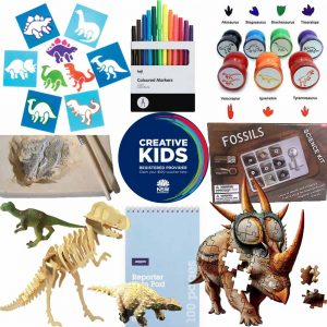 A series of products arranged around the NSW Creative Kids registered provider logo. The items show a dinosaur stencil, a t-rex wooden model, a fossil kit with 9 fossils inside, a plaster block with a paintbrush & wooden tool, 7 dinosaur stamps, 2 plastic dinosaur replicas, a dinosaur jigsaw and a black & white packet of 12 coloured markers.