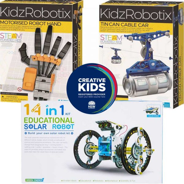A series of products arranged around the NSW Creative Kids registered provider logo. There are three kits: a 14 in 1 solar robot, a tin can cable car and a motorised robotic hand