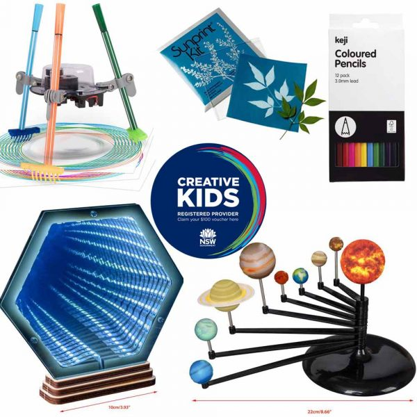 A series of products arranged around the NSW Creative Kids registered provider logo. The items show a three legged robot with pens for legs, a blue mirror with a series of LED lights forming a tunnel, a blue square showing a plant outline next to a plant, a painted 3D solar system model and a black & white packet of 12 coloured pencils.