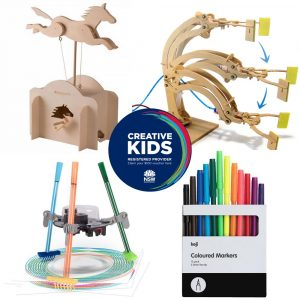 A series of products arranged around the NSW Creative Kids registered provider logo. The items show a wooden horse on a stick, a wooden arm with hydraulic tubing and syringes, a three-legged robot with pens attached adnd a pack of 12 coloured markers