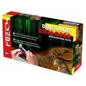 A box with a picture of a dinosaur skeleton being excavated by a hammer and chisel