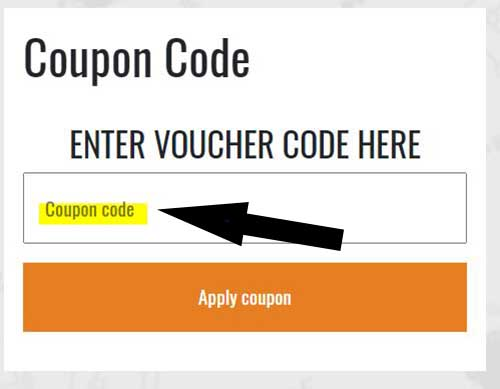 A box with an arrow showing where to enter the coupon code